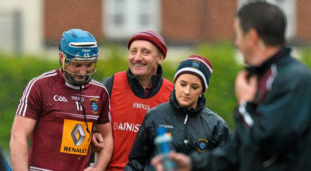 Michael Ryan, Westmeath manager, shares a smile with Derek McNicholas, after been subbed