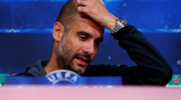 Bayern Munich coach Pep Guardiola during the press conference