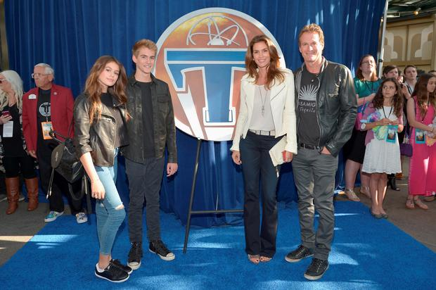 Kaia Gerber, Presley Gerber, model Cindy Crawford and Randy Gerber attend the world premiere of Disney's