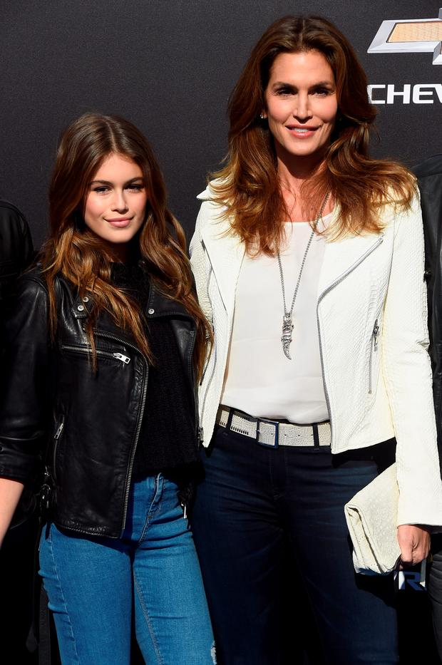 Model Cindy Crawford (R) and daughter Kaia Gerber attend the premiere of Disney's