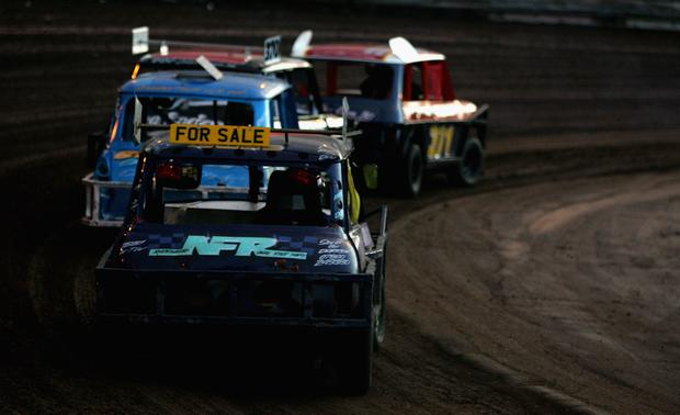 Ministox are put through their paces during the Ministx race during stockcar racing at Mildenhall Stadium (Photo by Jamie McDonald/Getty Images)