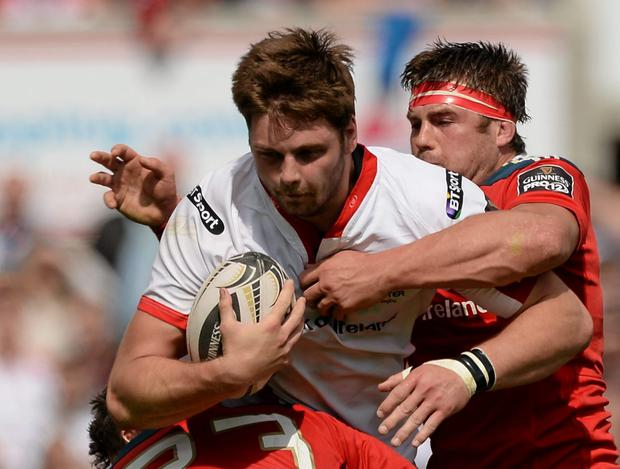 Ulster's Iain Henderson received a controversial red card for leading into a ruck with his head during Saturday's Guinness Pro12 draw against Munster and could be suspended for the rest of the campaign