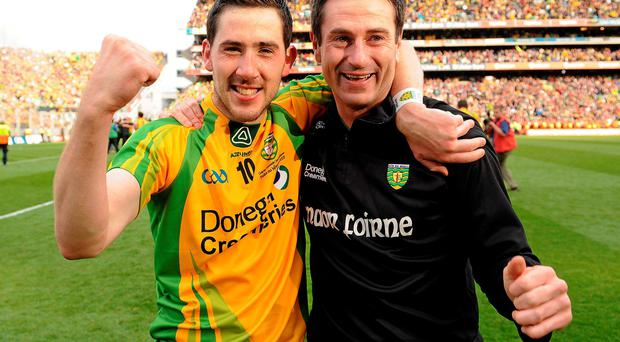 Mark McHugh and Rory Gallagher celebrate after winning the All-Ireland with Donegal in 2012