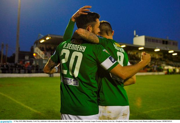 Billy Dennehy, Cork City, celebrates with team-mates after scoring his side's third goal