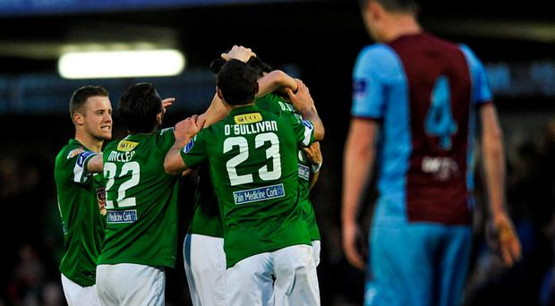 Billy Dennehy, Cork City, celebrates with team-mates after scoring his side's first goal