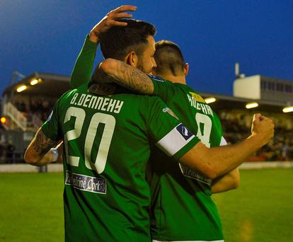Billy Dennehy celebrates with team-mates after scoring Cork City's third goal against Drogheda at Turners Cross last night