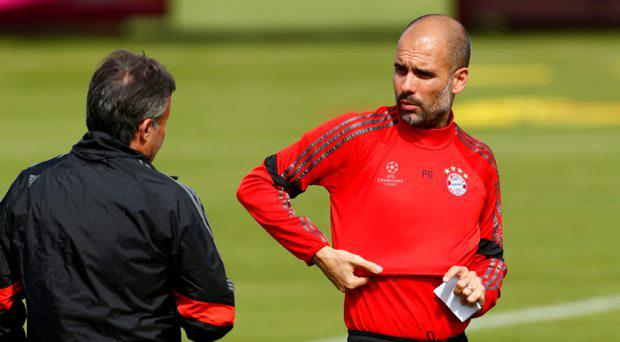 Bayern Munich coach Pep Guardiola during training