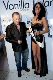Jade Lynch is crowned Miss Vanilla 2013 with judge Jim Corr at Vanilla Nightclub, Dublin, Ireland - 26.05.13. Pictures: