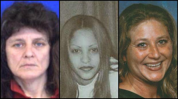 Diane Cusack, Joyvaline Martinez, and Mary Jane Menard. The women's bodies were found in 2007 and four more bodies were discovered in the same area Credit: State of Connecticut, Division of Criminal Justice (AP)