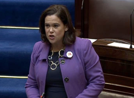 Sinn Fein's deputy leader Mary Lou McDonald wearing a 'Tá' badge in the Dail.