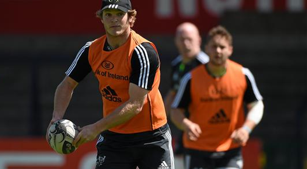 Munster's Tyler Bleyendaal in action during squad training on Tuesday, at the Irish Independent Park, Cork (Diarmuid Greene / SPORTSFILE)
