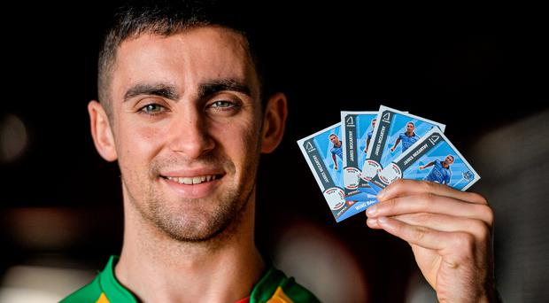 Dublin defender James McCarthy with the new Cul hero trading cards launched yesterday (Brendan Moran / SPORTSFILE)