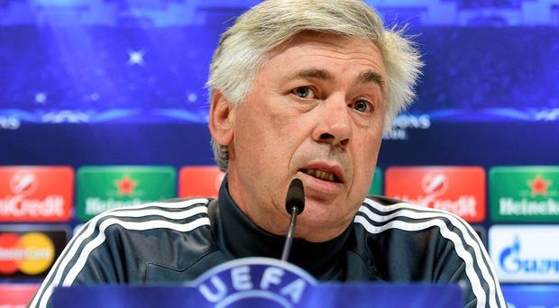 Carlo Ancelotti answers questions at a press conference ahead of tonight's clash with Juventus