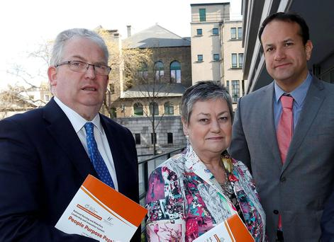 HSE director Tony O'Brien, Mary Mac Mahon of HSE's Nursing and Midwifery Service, and Health Minister Leo Varadkar