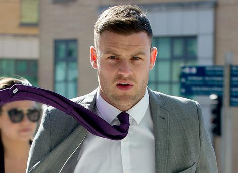 Celtic and Irish international footballer Anthony Stokes at Dublin Circuit Criminal Court yesterday. Photo: Collins Courts