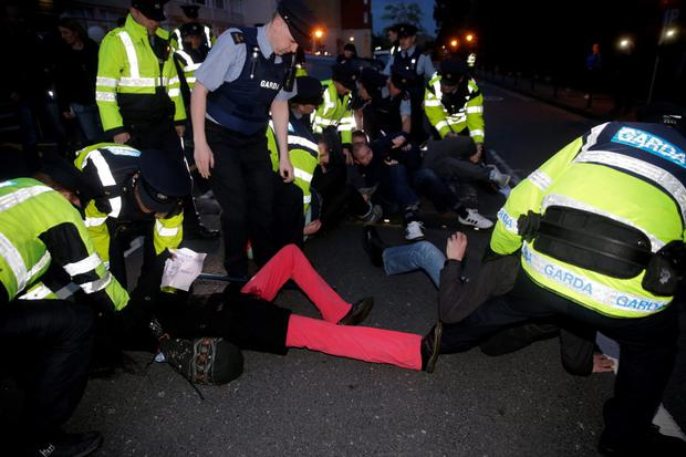 Water protesters clash with Gardai at a public meeting on Marriage Equality which Tainaiste Joan Burton was attending at the Regency Hotel, Dublin. Picture:Arthur Carron