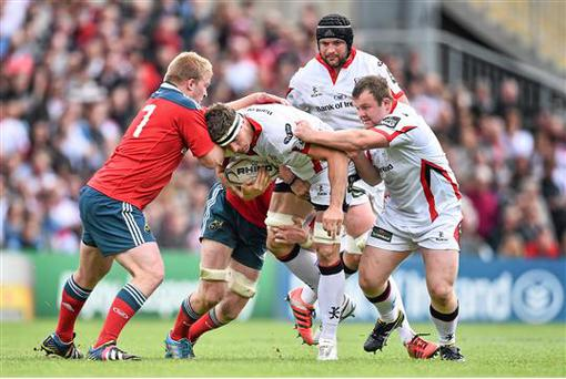 9 May: Robbie Diack, Ulster, is tackled by John Ryan, Munster during the Guinness PRO12, Round 21, Ulster v Munster. Kingspan Stadium, Ravenhill Park, Belfast (Ramsey Cardy / SPORTSFILE)