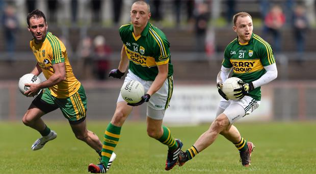 L - R: Donegal's Karl Lacey, Kerry's Kieran Donaghy and fellow Kerry forward Darran O'Sullivan