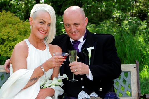 Audrey Fitzpatrick and Dave Mahon on their wedding day Pic: Courtesy Irish Daily Star/Jim Walpole