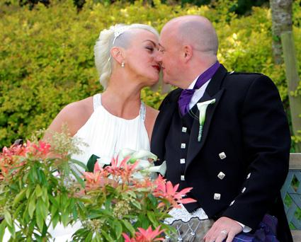 PIC OF DAVE MAHON AND HIS PARTNER AUDREY FITZPATRICK AFTER THEIR WEDDING IN KETTLES COUNTRY HOUSE HOTEL IN SWORDS COUNTY DUBLIN . PIC JIM WALPOLE STAR 12/05/2015
