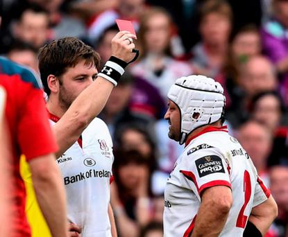 9 May 2015; Ulster's Iain Henderson, left, is shown a red card by referee Nigel Owens. Guinness PRO12, Round 21, Ulster v Munster. Kingspan Stadium, Ravenhill Park, Belfast. Picture credit: Ramsey Cardy / SPORTSFILE