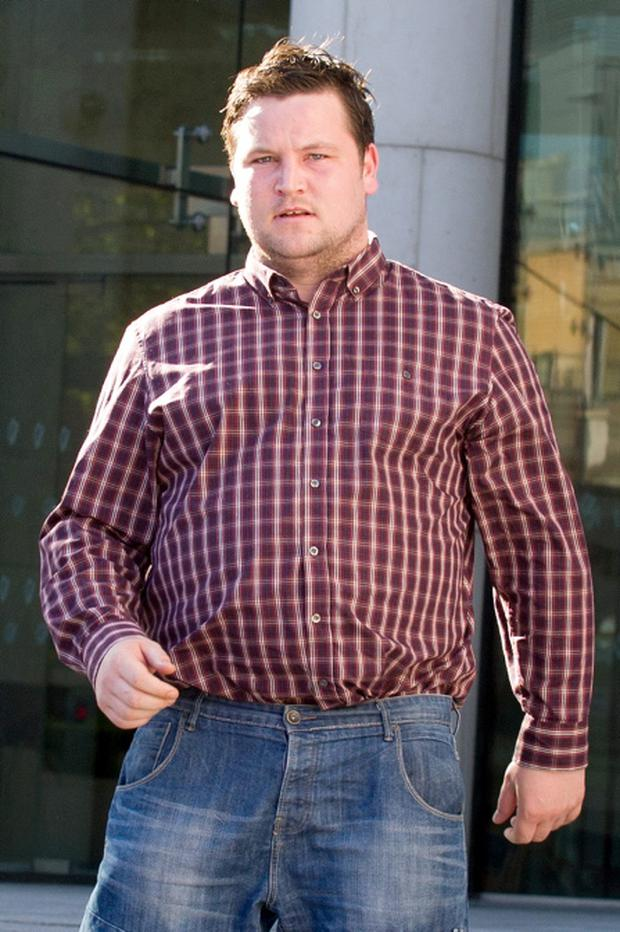 Love/Hate actor John Connors leaving Dublin District Court after giving evidence in a unsuccessful bail hearing of co-star Stephen Clinch, who was charged with robbery/ Pic: Court Collins.