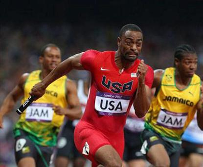 Tyson Gay in action during the 4x100m final at London 2012
