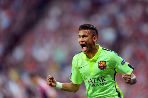 Barcelona's Neymar celebrates after his side's equalizing goal during a Champions League semi-final second leg soccer match between Bayern Munich and FC Barcelona in Munich last night