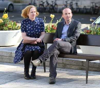 Ruth Coppinger and Paul Murphy on the plinth at Leinster House. Photo: Damien Eagers