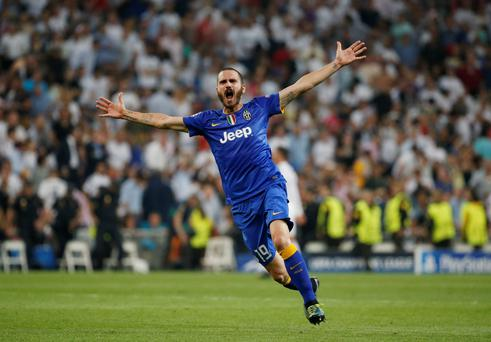 Juventus' Leonardo Bonucci celebrates at the end after reaching the UEFA Champions League Final Reuters / Paul Hanna