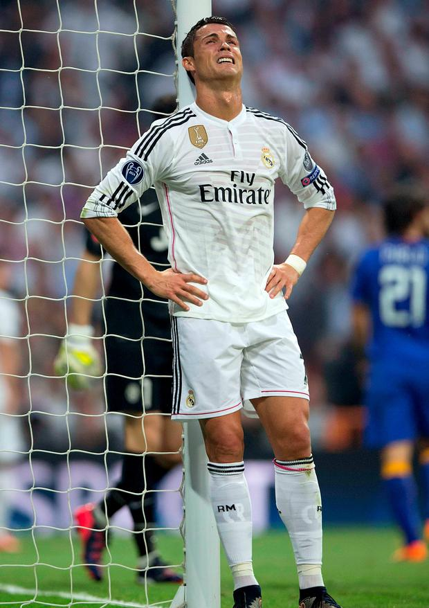 Cristiano Ronaldo shows the pain of defeat during last night's game with Juventus which Champions League holders Real Madrid drew on the night, however, they crashed out 3-2 on aggregate against a jubilant Juventus