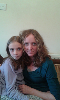 Muireann DeClár (10), who was hit by the egg thrown at 'No' campaigners, with her mother Aoife