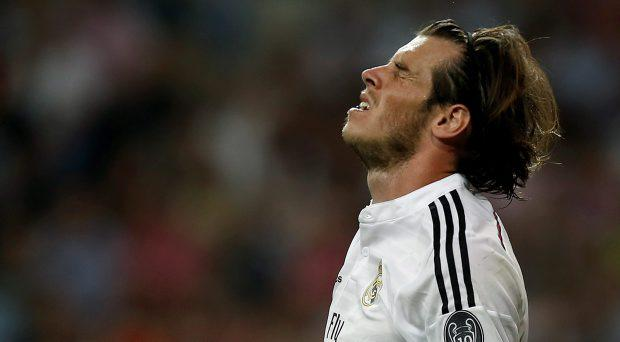 Real Madrid's Gareth Bale reacts during the Champions League second leg semi-final match between Real Madrid and Juventus, at the Santiago Bernabeu stadium in Madrid