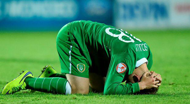 Anthony Scully, Republic of Ireland, following his side's defeat. UEFA European U17 Championship Finals Group D, Republic of Ireland v England, Stara Zagora, Bulgaria