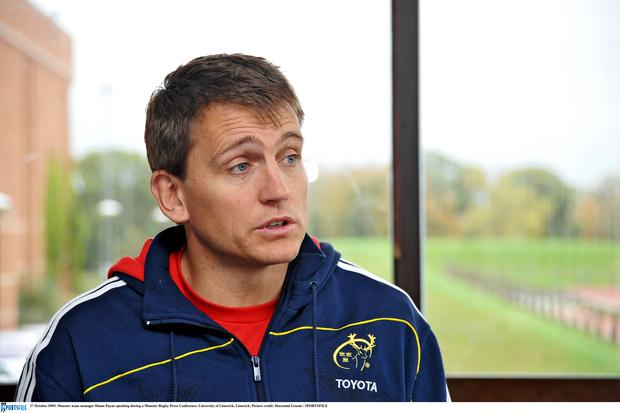 Shaun Payne speaking during a Munster Rugby Press Conference in 2009