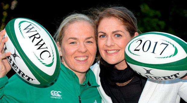Irish Women's Rugby captain Niamh Briggs, left, and IRFU Women's Rugby Ambassador Fiona Coghlan in attendance at the announcement that Ireland won the bid to be the host nation for the 2017 Women's Rugby World Cup. Ballsbridge Hotel
