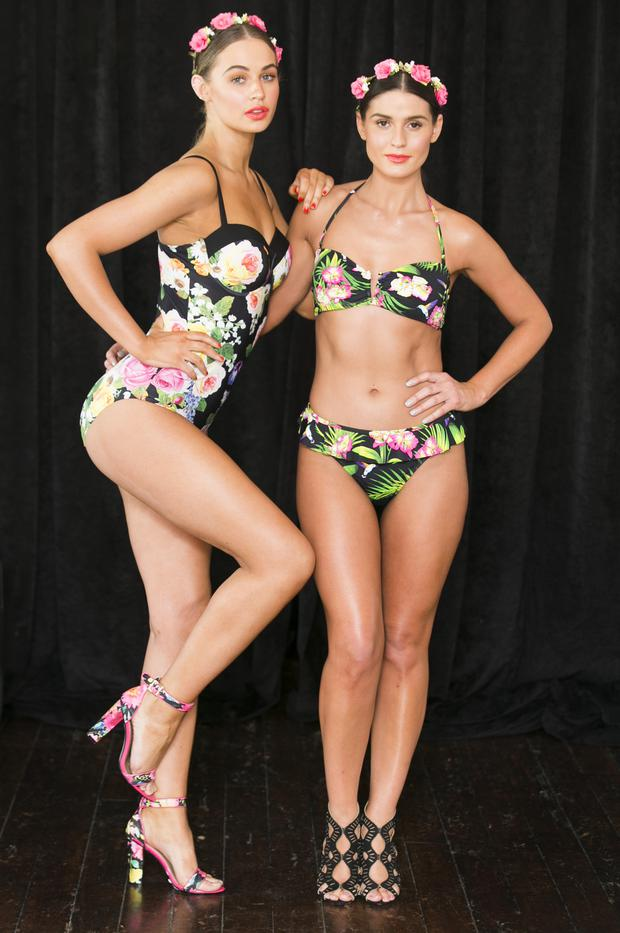 Models Thalia Heffernan wearing a Tropical Underwire Swimsuit 12.00.euro and Lynn Kelly wearing a Tropical Bikini Top 8.00.euro Tropical Bikini Bottom 6.00.euro pictured at the launch of Heatons 2015 new summer collection