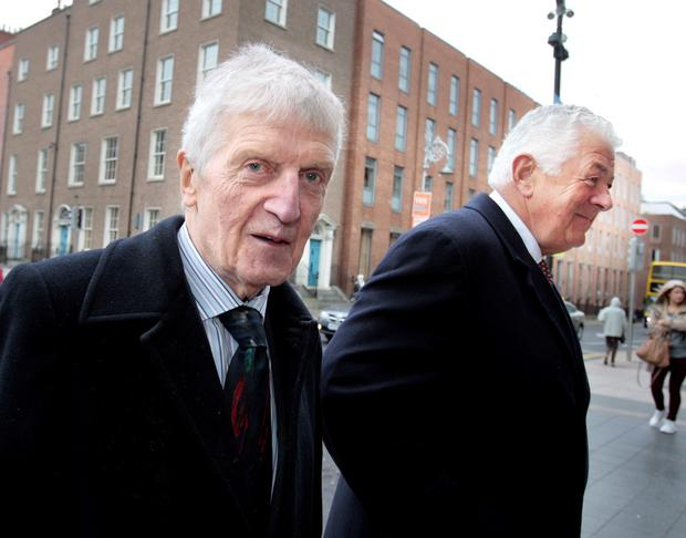 Former Governors of Bank of Ireland Laurence Crowley (left) and Richard Burrows,t arriving for the Oireachtas Banking Inquiry at Leinster House. Pic Tom Burke