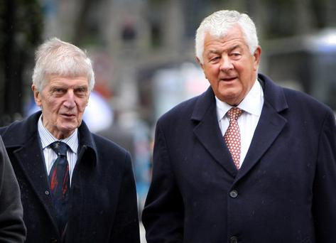Former Governors of Bank of Ireland Laurence Crowley (left) and Richard Burrows arriving for the Oireachtas Banking Inquiry at Leinster House.Pic Tom Burke