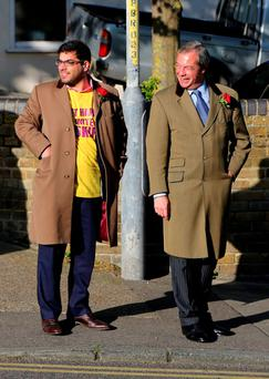 Ukip Leader Nigel Farage (right) with Ukip election strategist, Raheem Kassam as The Times has reported that he is one of the the aides targeted by Ukip MEP Mr O'Flynn Photo credit: Gareth Fuller/PA Wire