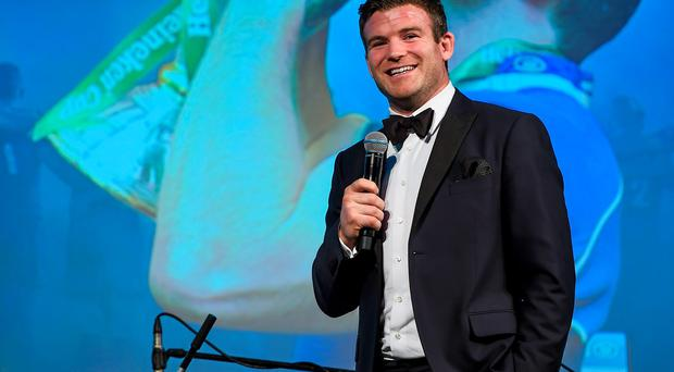 Gordon D'Arcy speaks to the audience at the Leinster rugby awards