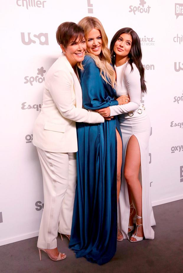 (L-R) Kris Jenner, Khloe Kardashian, and Kylie Jenner attend the 2015 NBCUniversal Cable Entertainment Upfront at The Jacob K. Javits Convention Center