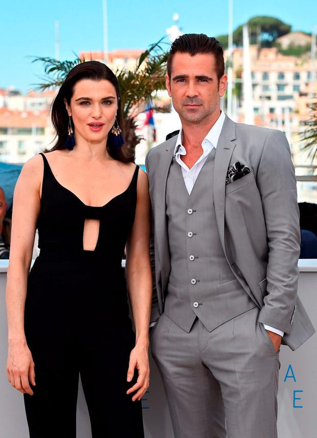 British actress Rachel Weisz (L) and Irish actor Colin Farrell pose during a photocall for the film