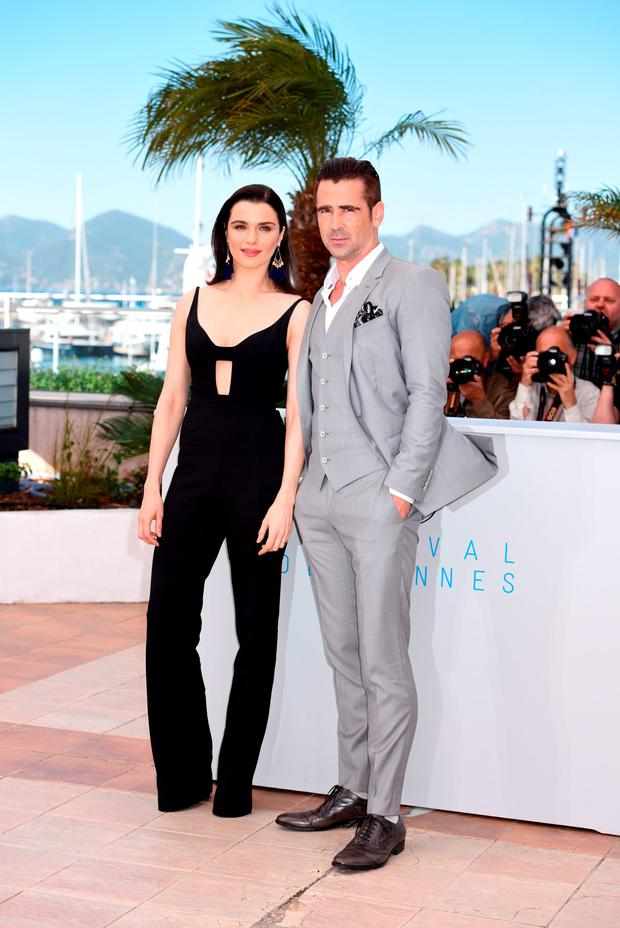 Actress Rachel Weisz and actor Colin Farrell attend a photocall for