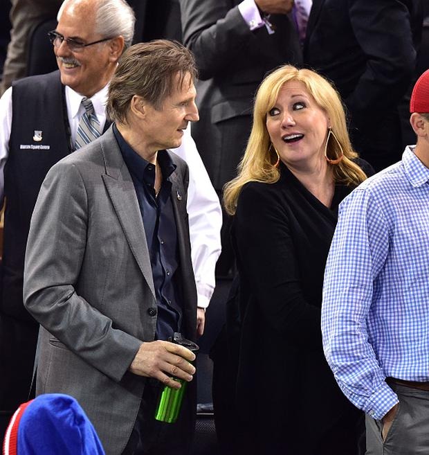 NEW YORK, NY - MAY 13: Liam Neeson and guest attend the Washington Capitals vs New York Rangers game at Madison Square Garden on May 13, 2015 in New York City. (Photo by James Devaney/GC Images)