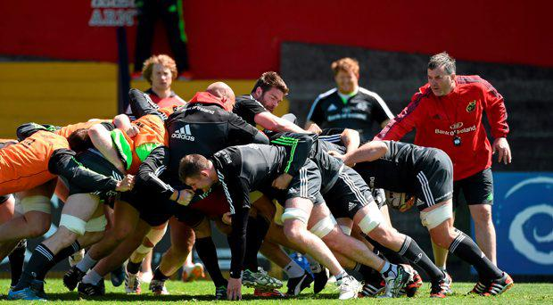 A general view of a maul during Munster squad training