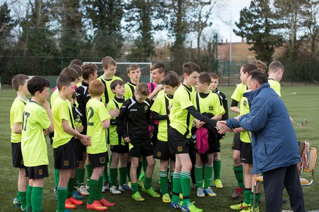 St Benildus College celebrate after winning the Leinster Boys 1st year Cup Final: St Benildus College v Colaiste Choilm Tullamore at Leixlip United FC. 26/3/2015 Picture by Fergal Phillips.
