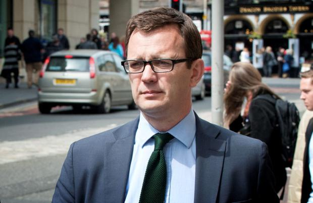 Former News of the World editor Andy Coulson leaving the High Court in Edinburgh where he has gone on trial accused of committing perjury. PRESS ASSOCIATION Photo. Picture date: Friday May 15, 2015. He is accused of lying under oath during the 2010 perjury trial of former MSP Tommy Sheridan. Coulson, 47, former director of communications for David Cameron, denies the allegation against him. See PA story COURTS Coulson. Photo credit should read: Jane Barlow/PA Wire