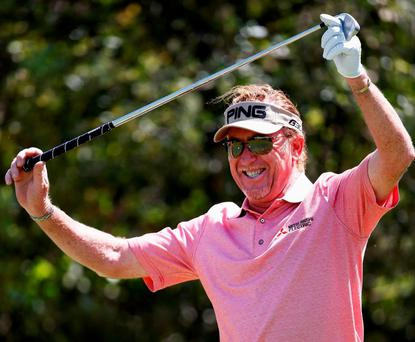 Miguel Angel Jimenez of Spain celebrates after hits his tee shot on the 8th hole and scores a hole in one during Day 2 of the Open de Espana held at Real Club de Golf el Prat