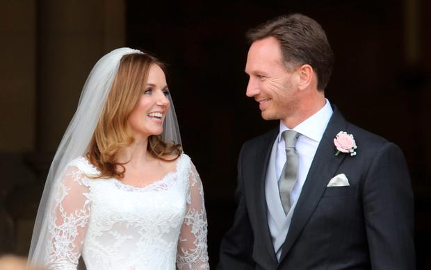 Spice Girl Geri Halliwell and her new husband Formula 1 boss Christian Horner after their wedding at St Mary's Church in Woburn, Bedfordshire. PRESS ASSOCIATION Photo. Picture date: Friday May 15, 2015. See PA story SHOWBIZ Halliwell. Photo credit should read: Chris Radburn/PA Wire